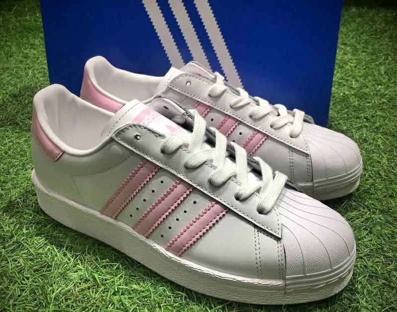 Adidas originals superstar boost W 粉白 女款