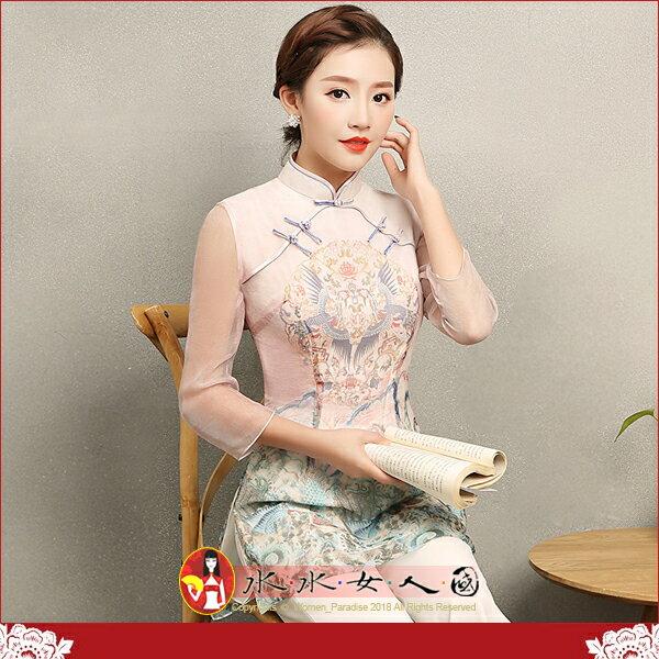 【水水女人國】~如詩如畫~另人驚豔。藝術極品中國風美穿在身~炎雀。復古立領如意襟雪紡印花時尚改良式半透七分袖旗袍唐裝上衣
