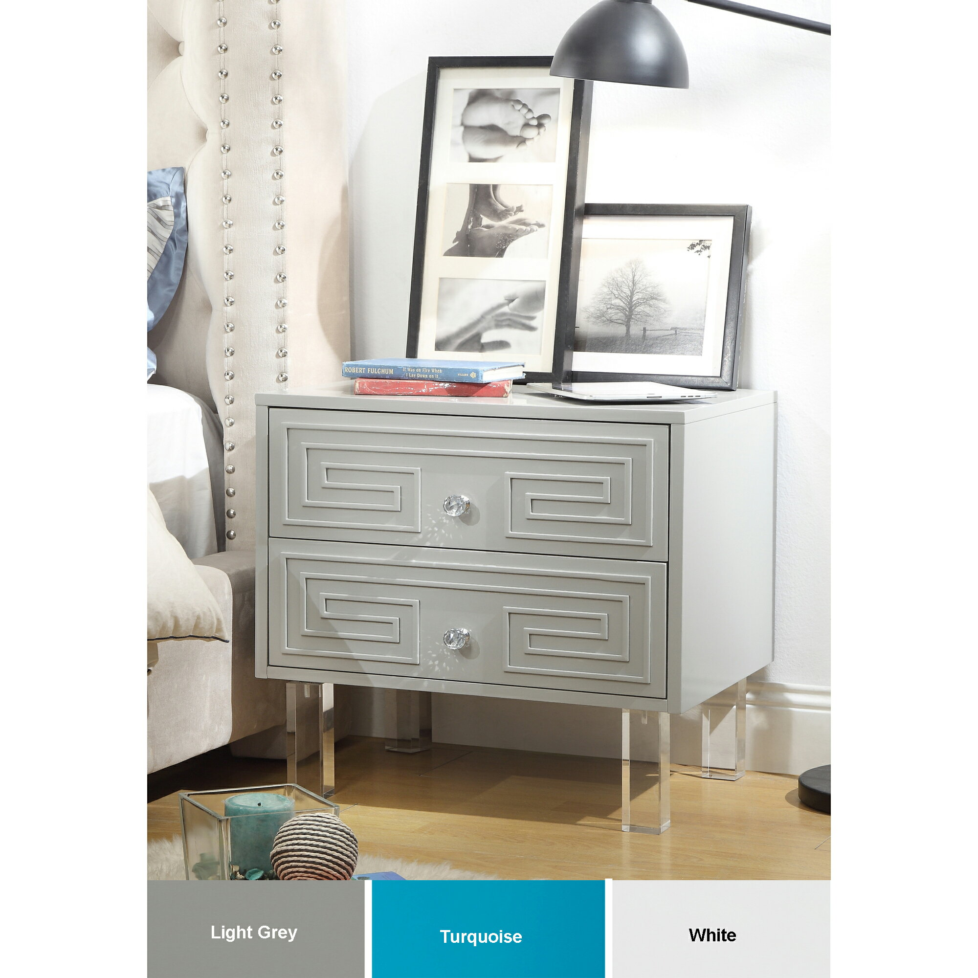 Homespot Nollet Lacquer Finish Nightstand 2 Drawers Modern