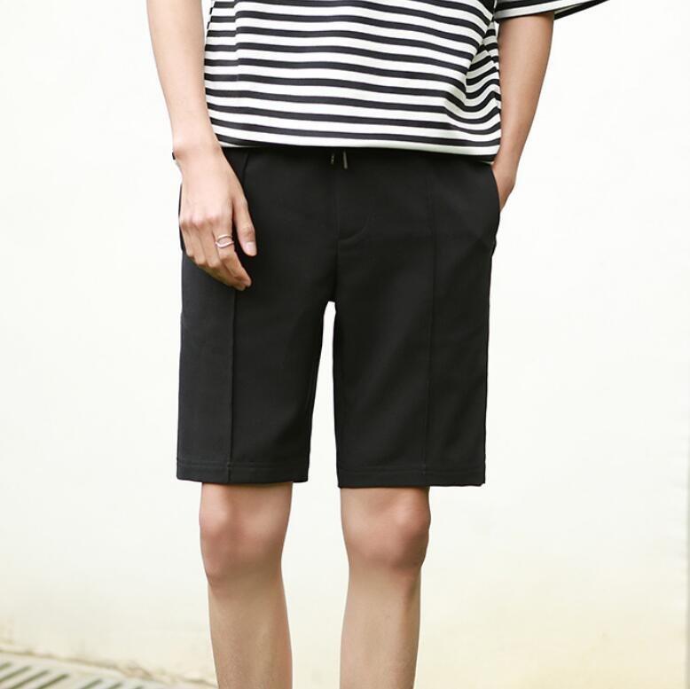 FINDSENSE MD  男 韓國 款 純色 簡約舒適 黑 薄款 休閒短褲 西裝短褲