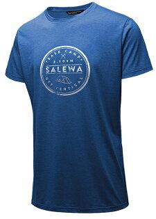 【Salewa德國】BASECAMP快乾T恤LOGO短袖T恤運動T恤麻藍麻花男款(27020-3426)