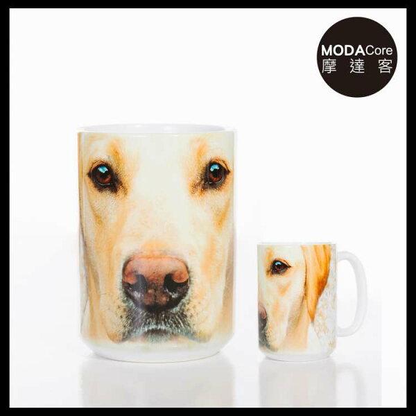 【摩達客】(預購)美國TheMountain黃拉不拉多犬臉圖案設計藝術馬克杯440ml
