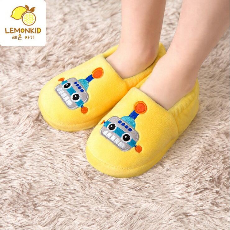 Lemonkid◆秋冬新款可愛機器人防滑保暖室內居家包鞋兒童包跟拖鞋-黃色