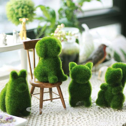【F15031002】可愛人造草動物擺飾 仿真綠色動物桌上小物小 植毛玩具 辦公室/送禮