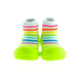 【悅兒樂婦幼用品舘】韓國Attipas快樂腳襪型學步鞋-AR04-彩虹綠底(M/L/XL)