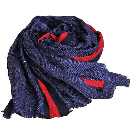GUCCI SU TITH 藍紅藍圖騰人字紋披肩圍巾(藍灰)