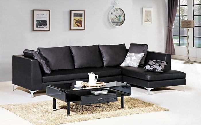 ~尚品傢俱~ HY~B243~01 義式L型黑皮沙發 坐左  右貴妃