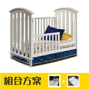 台灣【LEVANA】【三合一系列】崔貝卡 嬰兒成長床(組合特惠:床+5件組+雙面床墊)