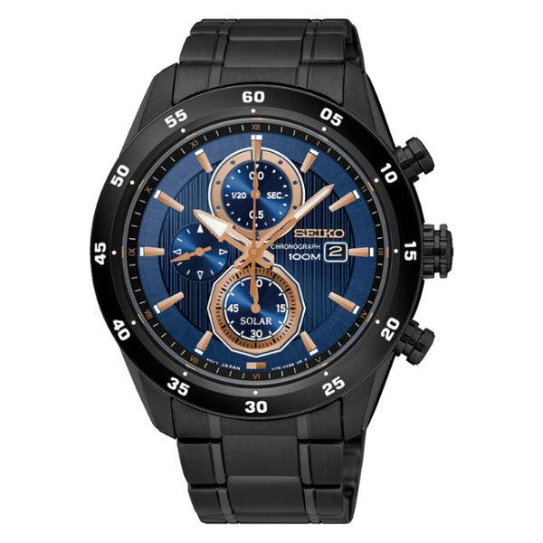 SeikocriteriaV176-0AR0A(SSC539P1)極致競速太陽能計時腕錶藍金面43mm
