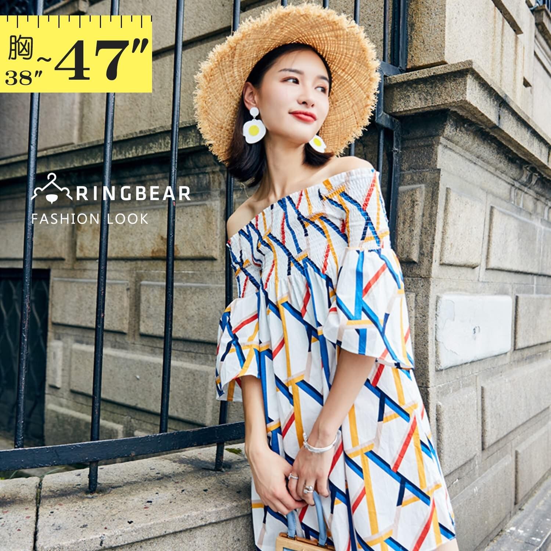 波西米亞--時尚甜美夏季渡假風格露肩喇叭五分袖一字領連身裙(白L-3L)-D514眼圈熊中大尺碼 1