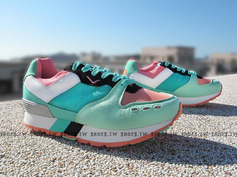 《超值7折》Shoestw【53W1YK67LN】PONY YORK 復古慢跑鞋 內增高 薄荷綠粉 增高鞋