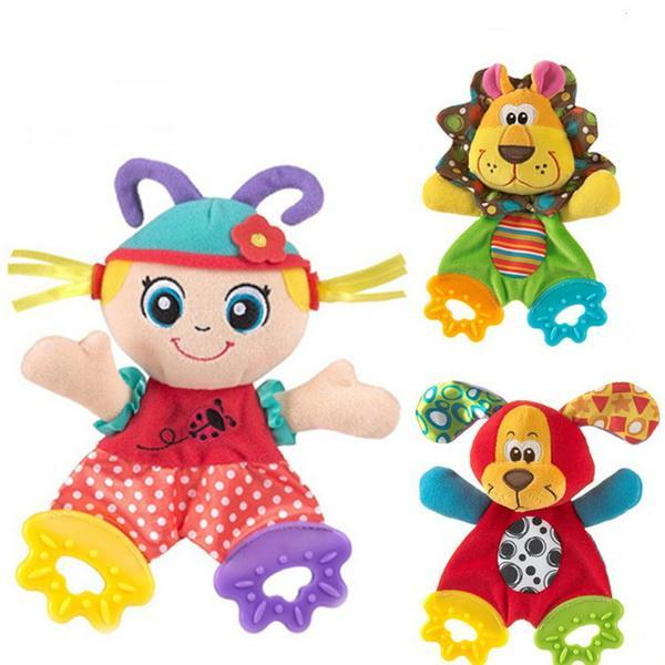 Infant Baby Plush Stuffed Toys Cute Cartoon Playmate Calm Doll Teether Developmental Kids Toys 0