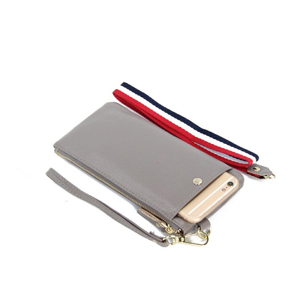 手拿包真皮手機包-簡約薄款純色牛皮女包包5色73wz45【獨家進口】【米蘭精品】 1