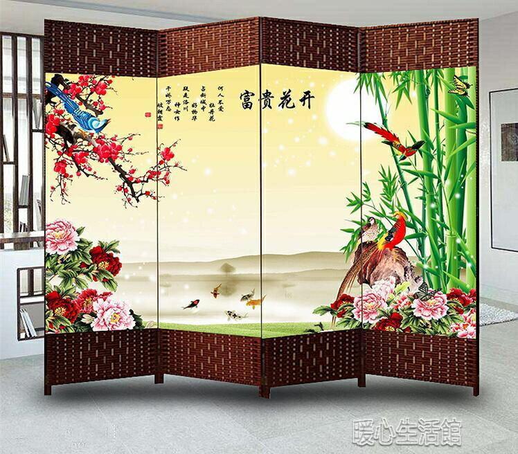 屏風屏風隔斷簡約現代小戶型摺屏客廳臥室雙面移動摺疊布藝時尚簾子yh