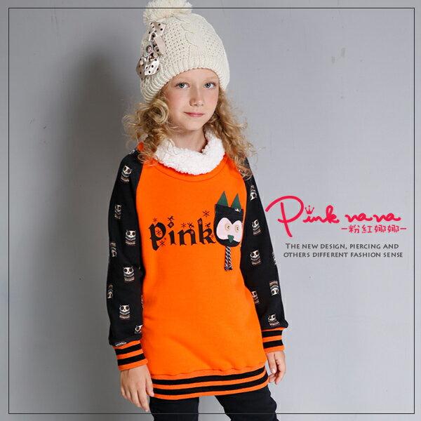 PINKNANA童裝 中大童亮眼橘色貓頭鷹刷毛保暖棉T恤 親子裝32251