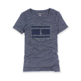 美國百分百【Tommy Hilfiger】T恤 TH 女 上衣 圓領 T-shirt 短袖 LOGO 藏藍XS S號 H762