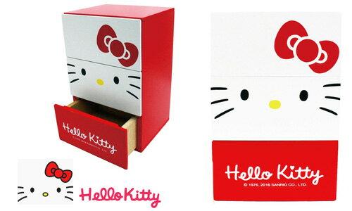 【真愛日本】 17051100001 木製長方三抽屜盒-大臉KT紅 三麗鷗 kitty 凱蒂貓 抽屜櫃 收納櫃 櫃子