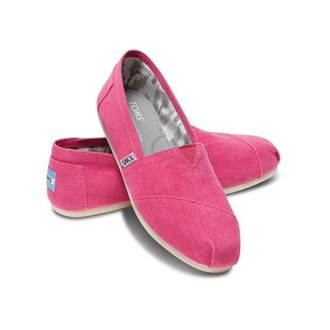 【TOMS】粉紅色亞麻平底休閒鞋 Earthwise Pink Women\