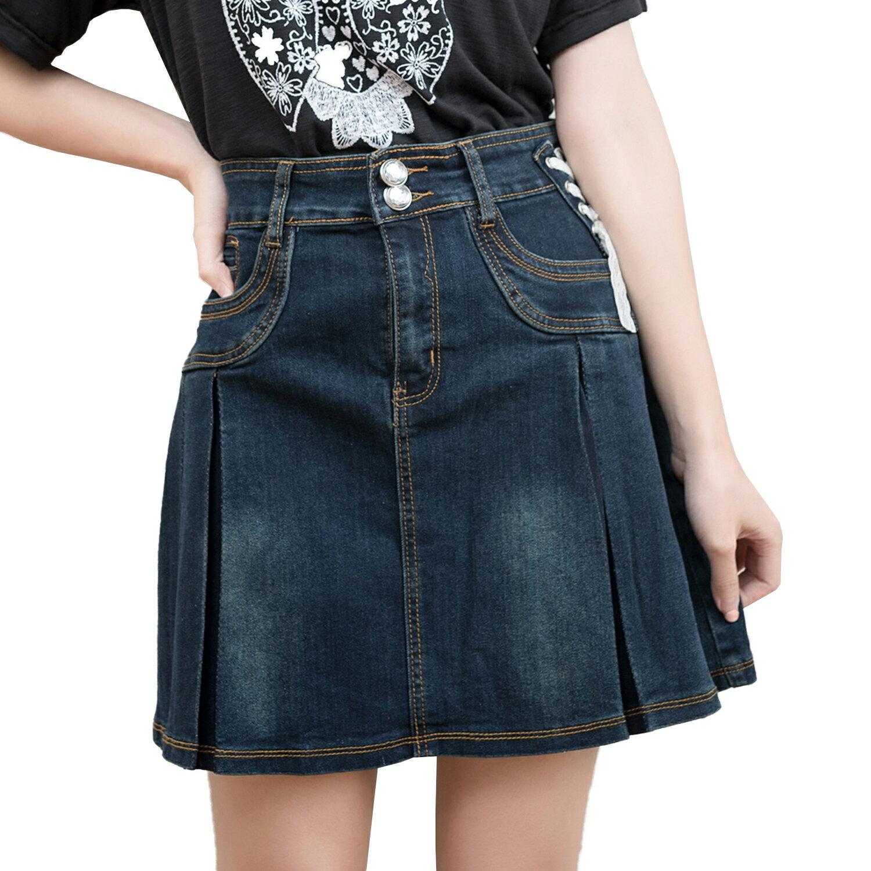 加大尺碼--側邊蕾絲綁帶率性釦環水鑽釦蓋帶口袋大百摺牛仔短裙(牛仔藍S-7L)-Q05眼圈熊中大尺碼 1