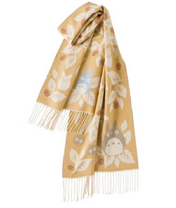 【真愛日本】16110800029毛料大圍披巾-樹葉橡果子棕    龍貓 TOTORO 豆豆龍  圍巾 禦寒用品 保暖