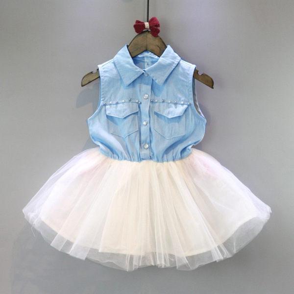 女童短袖洋裝紗紗連身裙小禮服寶寶童裝MS18137好娃娃