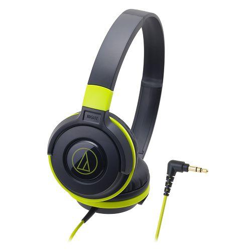 鐵三角ATH-S100黑綠潮流DJ款可摺疊耳罩式耳機【愛買】