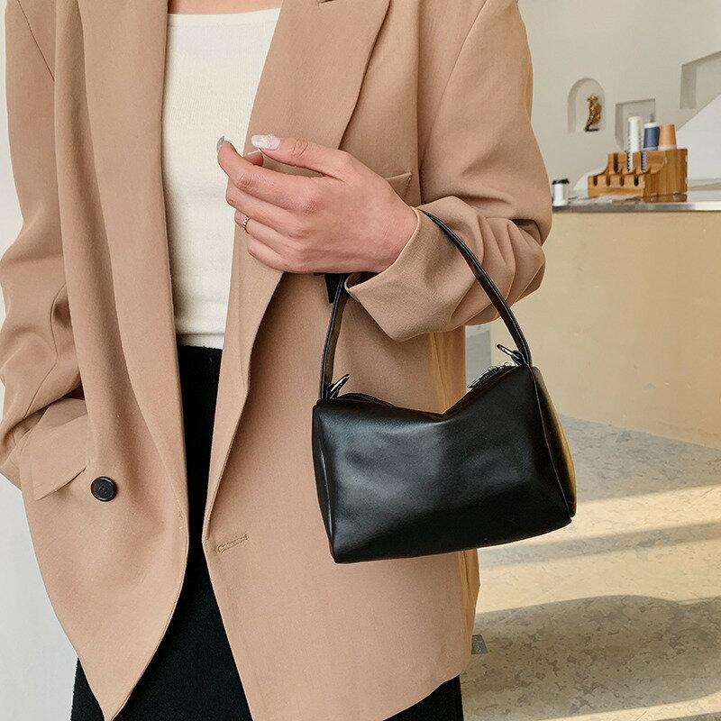 復古休閒小包包女2021秋冬新款簡約小方包時尚單肩手提包腋下包潮