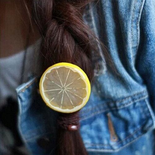 韓國流行超可愛水果造型髮圈 檸檬 蘋果 西瓜 髮繩 髮飾 綁髮帶