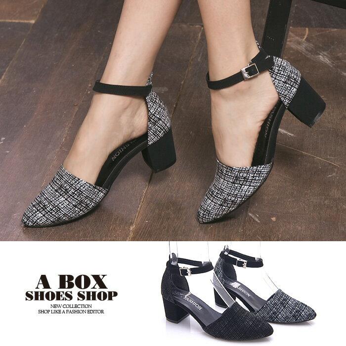 格子舖*【KDW9003】MIT台灣製 韓版流行皮革材質 釦環穿拖 5CM中粗跟瑪莉珍鞋 尖頭包鞋 2色 0