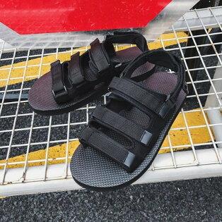 FINDSENSEZ1日系時尚潮流男女情侶鞋魔術貼休閒涼鞋戶外運動涼鞋沙灘涼鞋