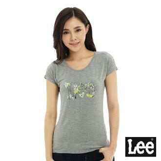 【短T單件390】 Lee 短袖T恤 連袖白色花朵點綴文字印刷 -女款(麻花灰)