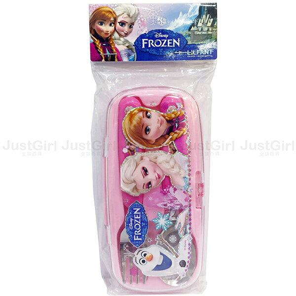 迪士尼 冰雪奇緣 艾莎安娜 湯匙 叉子 附盒 LILFANT 304不鏽鋼兒童餐具組 韓國製造進口 JustGirl