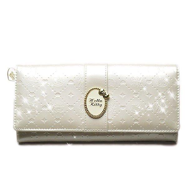 【真愛日本】13051100048 珠光長夾-緞帶胸針白 三麗鷗 Hello Kitty 皮夾 亮皮錢包 正品