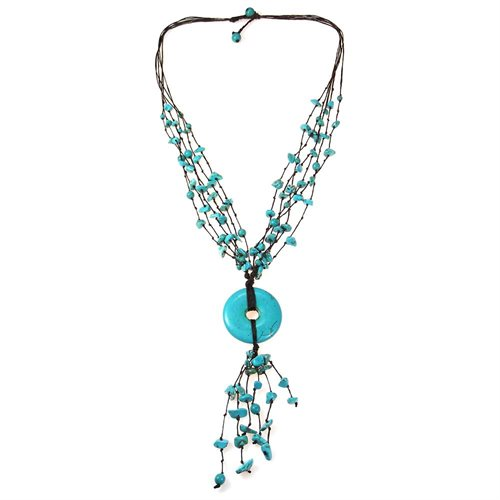 Multi Strand Turquoise Donut Wax Rope Necklace 1