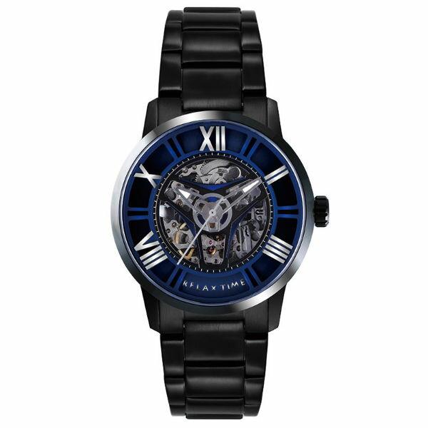 大高雄鐘錶城:RelaxTimeRT-61X-5限量版羅馬鏤空時尚藍X黑機械腕錶45mm加贈一條錶帶