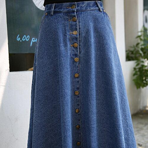 牛仔裙 - 韓版高腰排釦牛仔長裙【23288】藍色巴黎《2色》現貨+預購 2