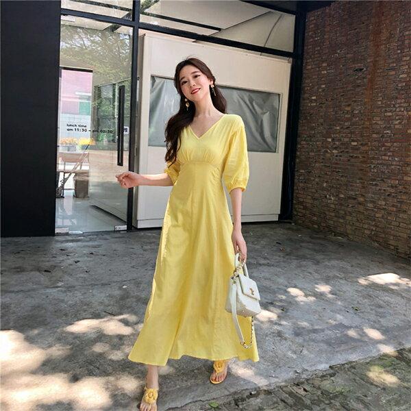 PS Mall 棉麻A字連身裙小心機修身顯瘦收腰V領長裙 【T553】 0