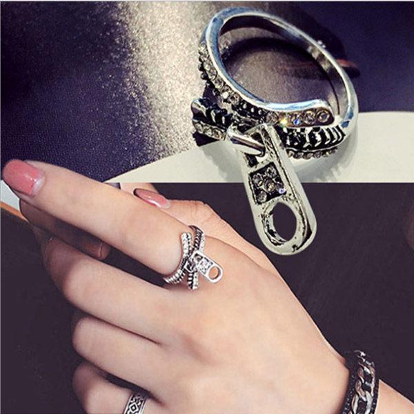 PS Mall 韓版復古鑲鋯石拉鍊戒指食指個性關節指環日韓版時尚女百搭裝飾品【G1956】