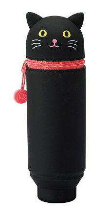 日本SMART FIT PuniLabo 動物矽膠筆袋 (黑貓)  筆筒 2 Way設計