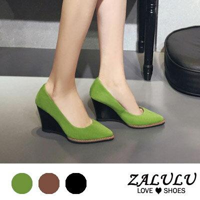 ZALULU愛鞋館 GB046預購款 真皮鞋款素面斜坡跟包鞋-棕/綠/黑-35-39
