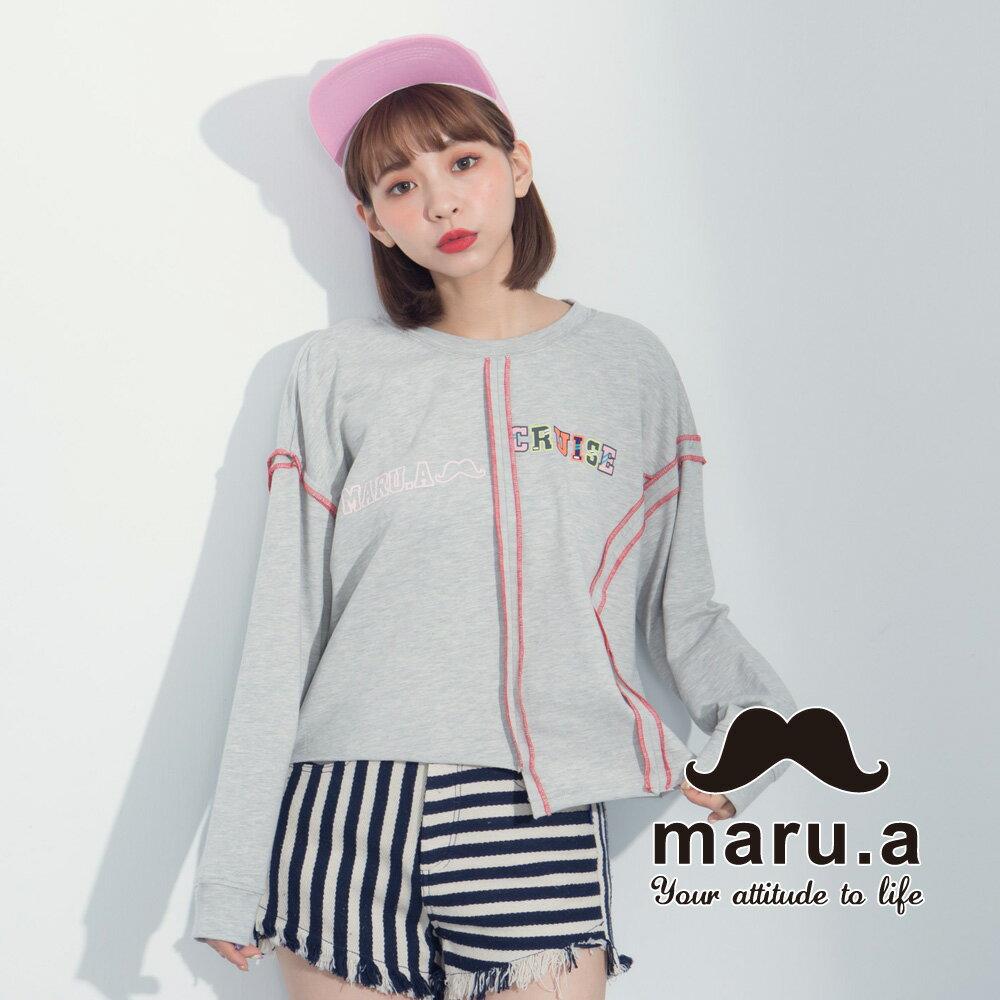 【maru.a】文字印花不對稱撞色車線T-Shirt  8321225 2