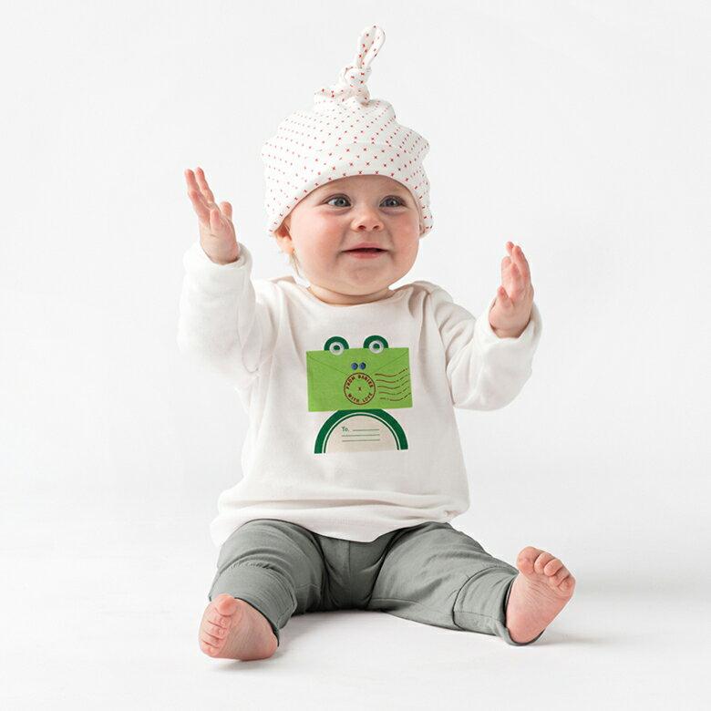 小綠蛙.T-shirt / 嬰幼兒童裝 上衣 (歐盟認證有機無毒,英國進口品牌) / 6~24個月2種尺寸供選擇