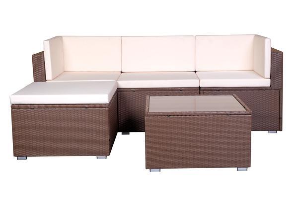 Brown Wicker Patio Furniture.Mcombo 5 Pcs Outdoor Patio Brown Wicker Sofa Chair Garden Sectional Furniture Set W Cushion Cover 6089 0410