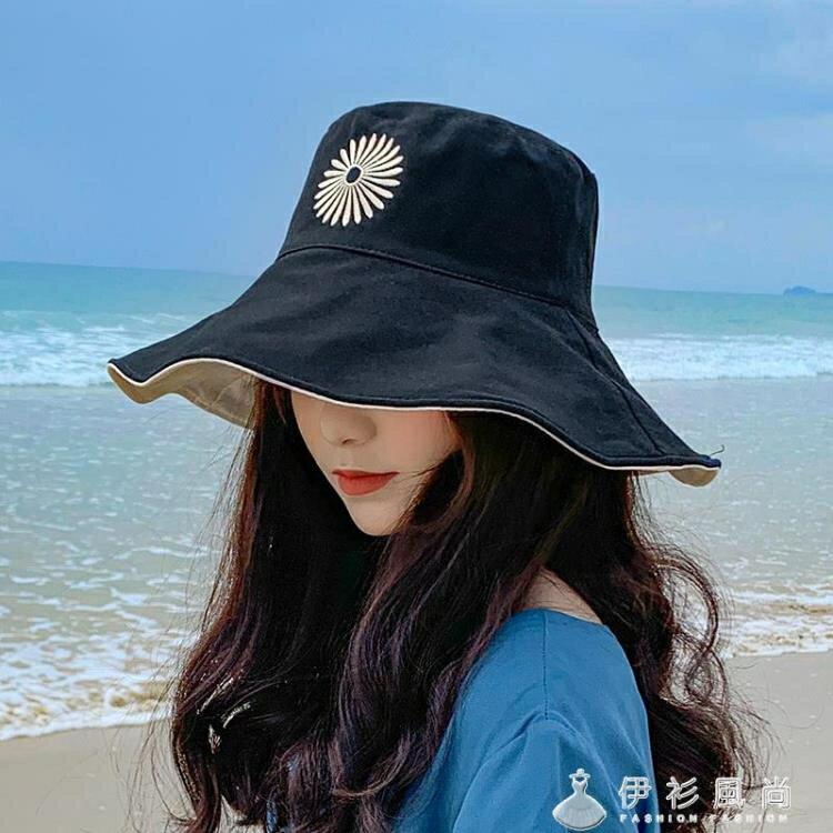 小雛菊漁夫帽女雙面雙色大沿遮臉ins韓版潮百搭夏天防曬遮陽太陽