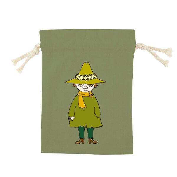 【嚕嚕米Moomin】彩色束口袋-阿金(軍綠咖啡)