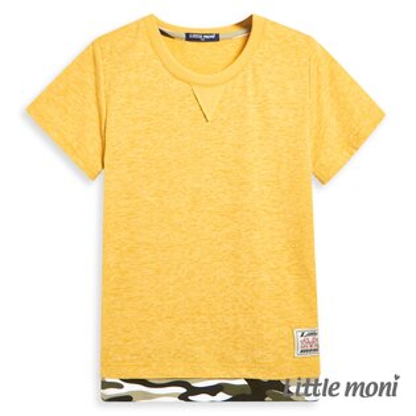 Littlemoni迷彩拼接上衣-黃色