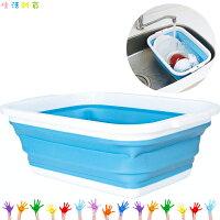 野餐籃打造貴婦風格COGIT 可收納式 塑膠洗碗籃 藍 8.5L  摺疊 膠花 露營 野餐 釣魚 萬用 日本進口正版 905209