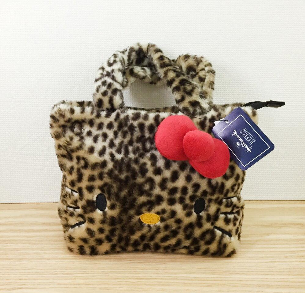 【真愛日本】15102800047 限量聯名托特包-絨豹紋紅結 三麗鷗Hello Kitty凱蒂貓 托特包 包包 手提包