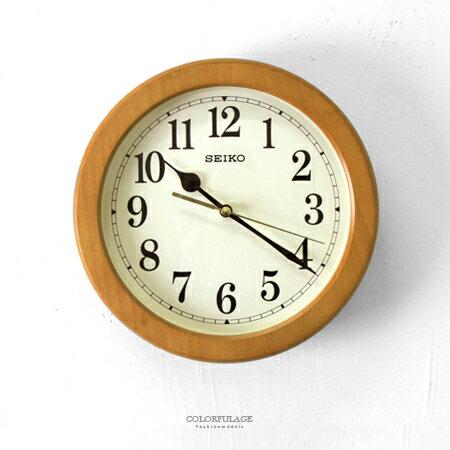 時鐘 SEIKO淺咖木質外框掛鐘 [NG25] 柒彩年代