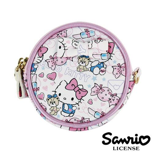 5333【日本進口正版】Hello Kitty 凱蒂貓 三麗鷗 人物系列 圓型 皮質 零錢包 SANRIO - 123671